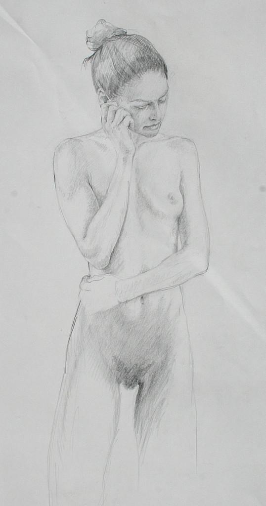 pencil study, kneeling nude