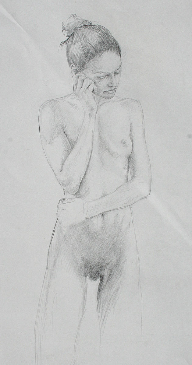 pencil study, kneeling nude