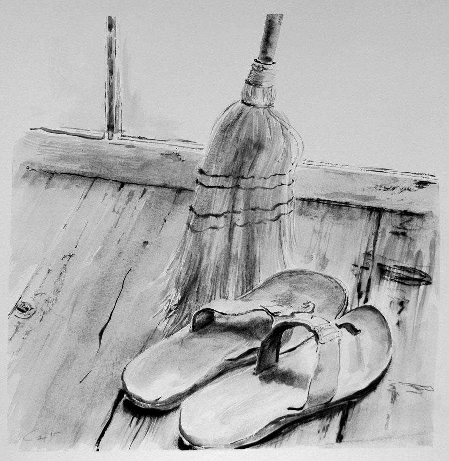 sandals in studio
