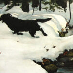 "detail of ""Sunday Walk"" a watercolor of a black dog in snow in Maine woods by Christopher Cart"
