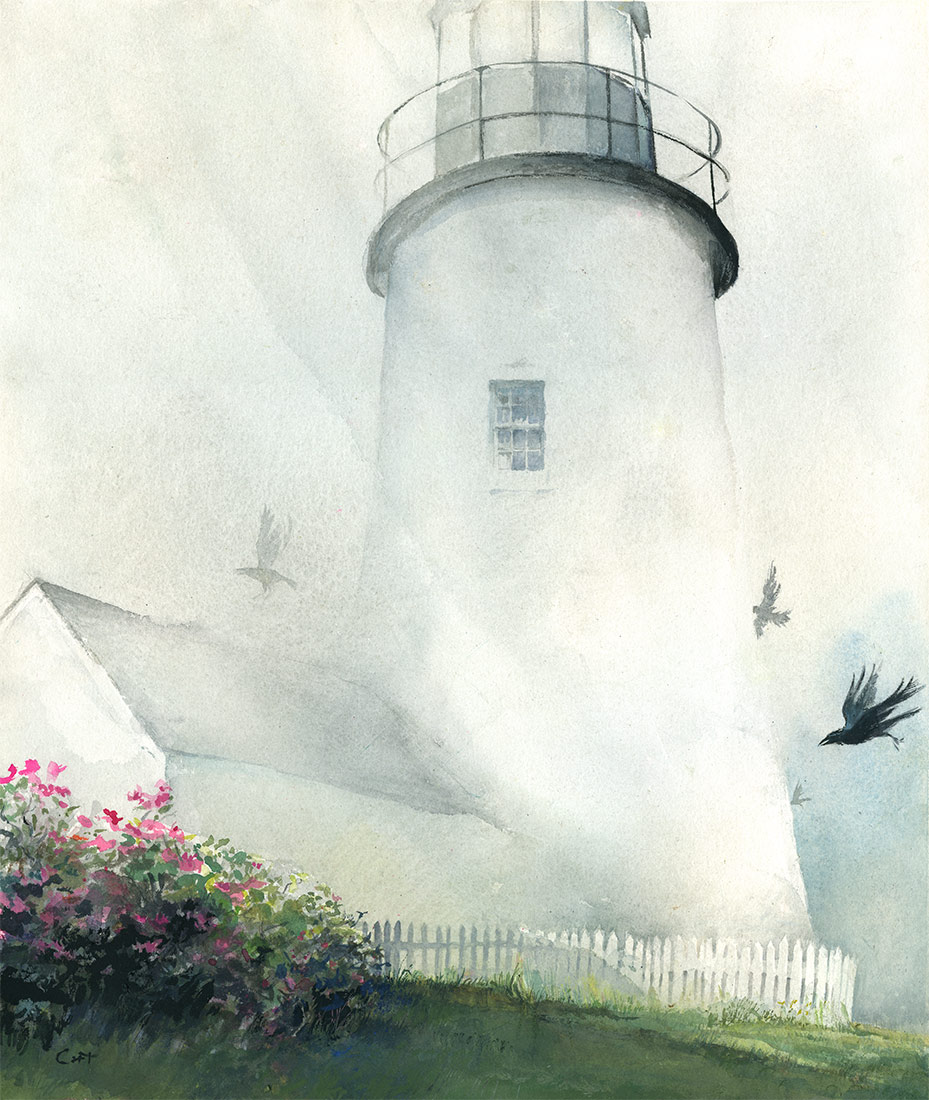 Watercolor-Christopher Cart- Lighthouse in Fog with Crows Flying