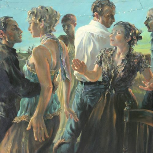 Couples dancing in the early dusk
