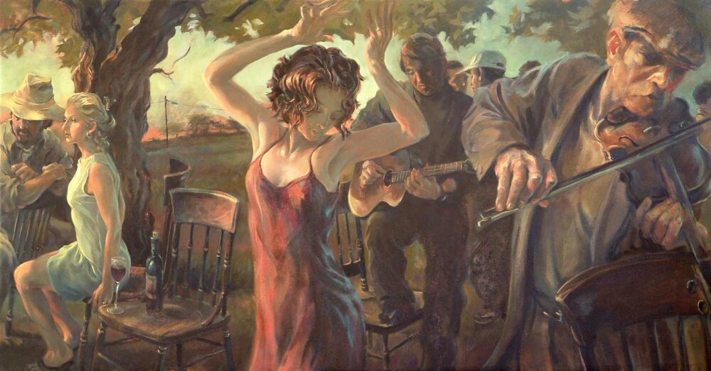 Giclée print of wine harvest celebration with woman dancing and guitar player and violin player.