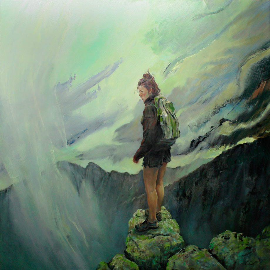 Christopher Cart Oil Painting of his daughter, a lone hiker, making a judgement call about whether or not to travel onward high in the Maine mountains.