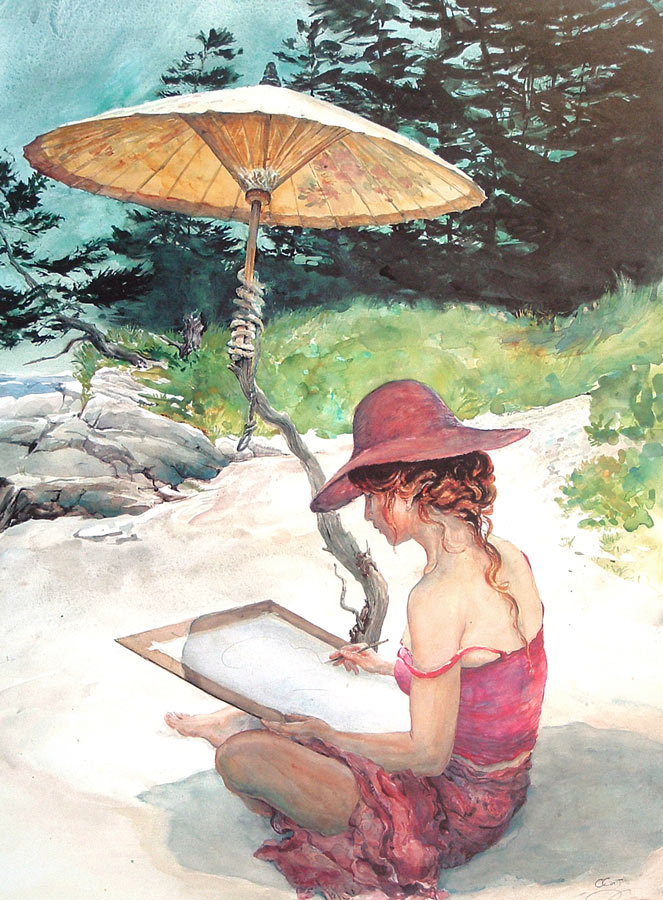 LLithograph of a woman sitting painting on a beach under a chinese parasol