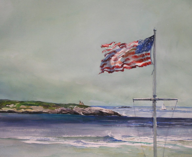 Popham Beach, plein air watercolor