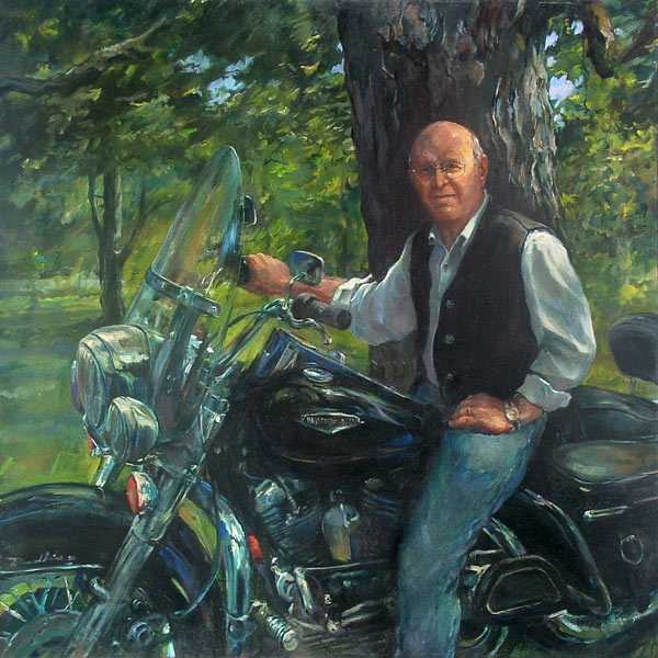 Oil Portrait:  Dan Wathen on His Harley Davidson