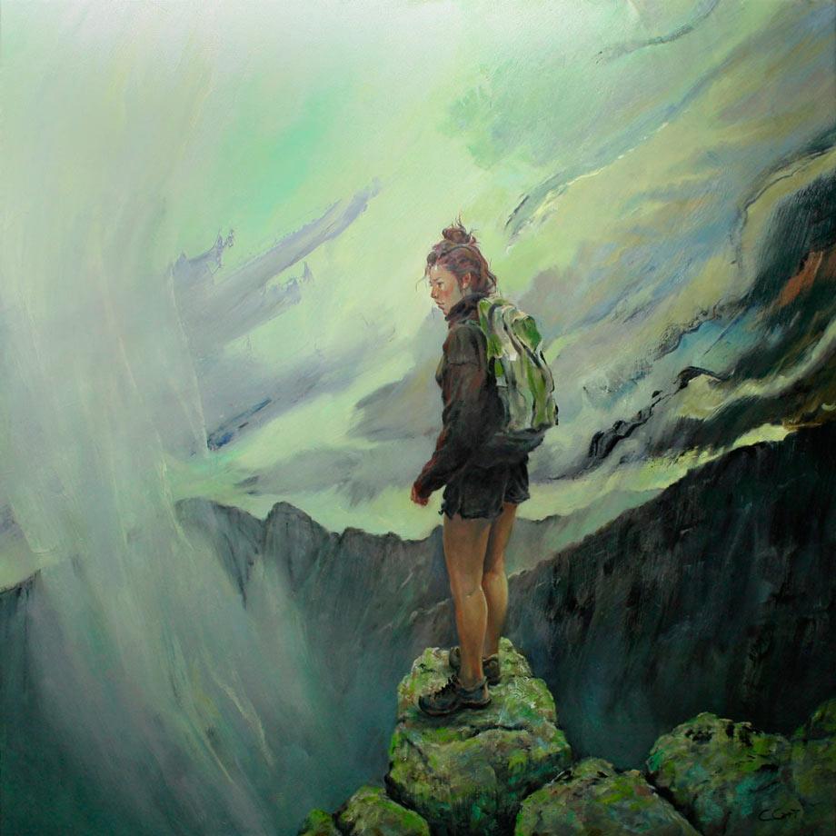 Woman hiker on Katahdin considering the Knife Edge in perilous weather