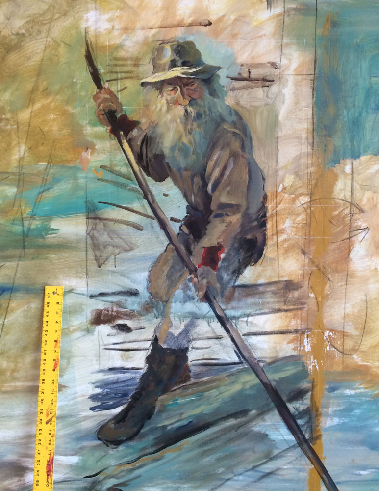 Logger from the Courthouse mural, part 2