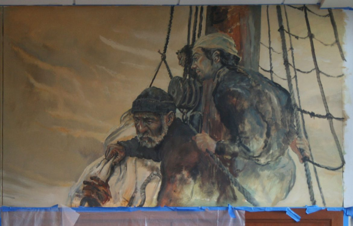Courthouse mural progress