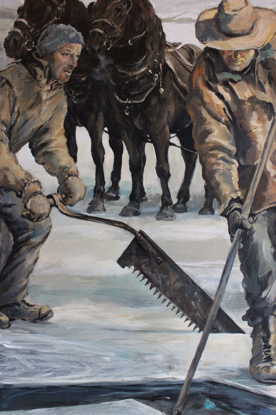 Kennebec mural, ice cutters