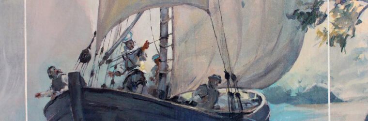 1607 Popham explorers, detail Kennebec Mural