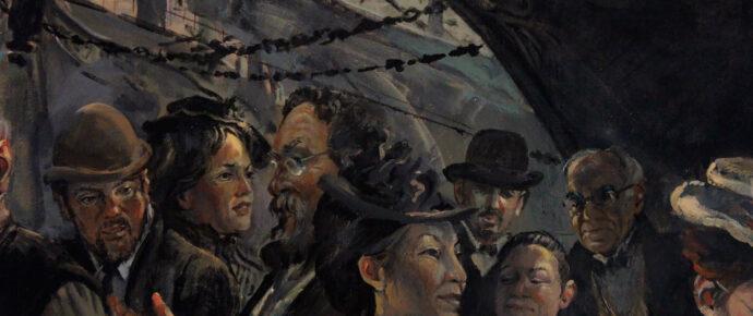 crowded wharf, detail, Kennebec Mural