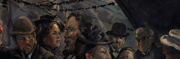 crowded wharf, detail, Kennebec Mural