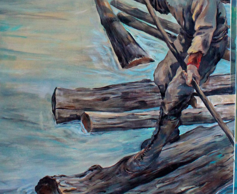 logging on the Kennebec, mural detail