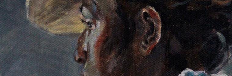 woman on pier, detail, Kennebec Mural