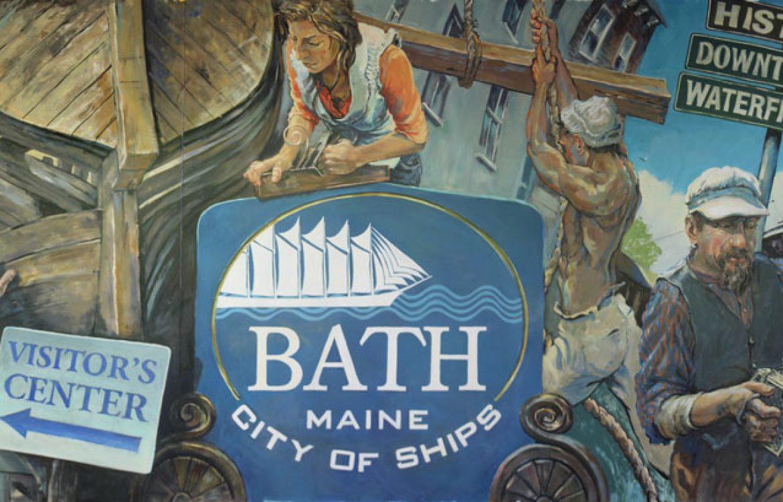 City of Ships, mural, Bath Maine