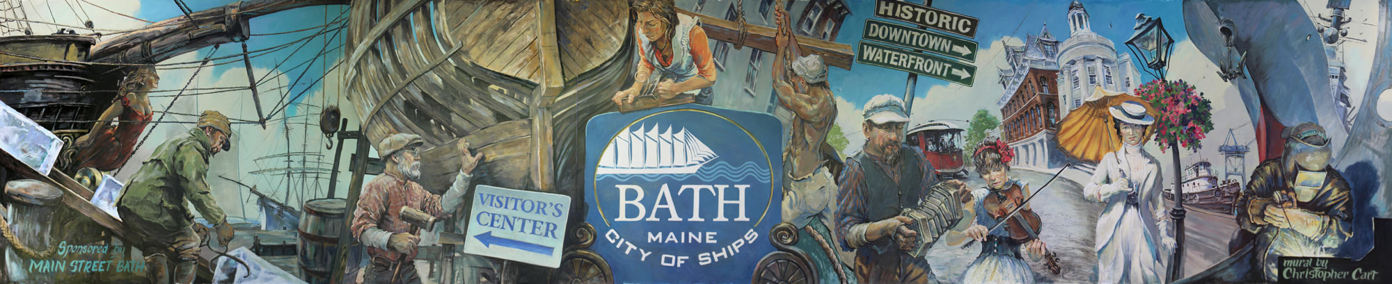 This is a mural I painted for Bath, Maine in 2016.  4 x 22 feet.