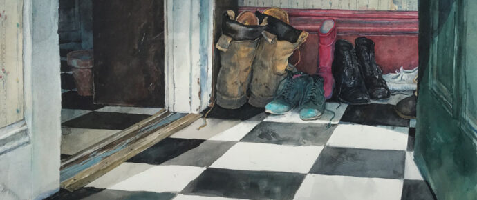 Mudroom, watercolor