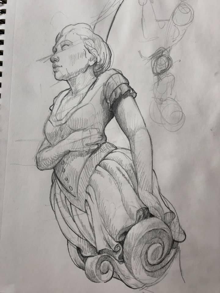 Figurehead study, pencil
