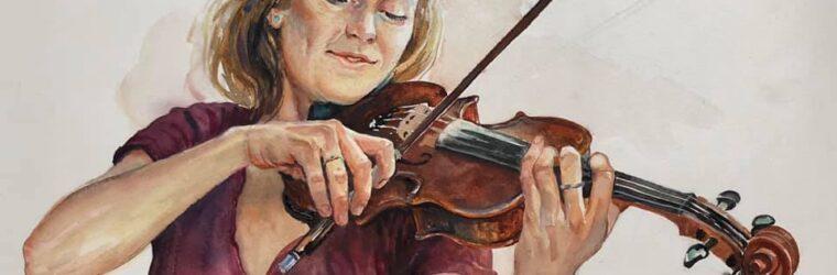 Violinist, watercolor mural study